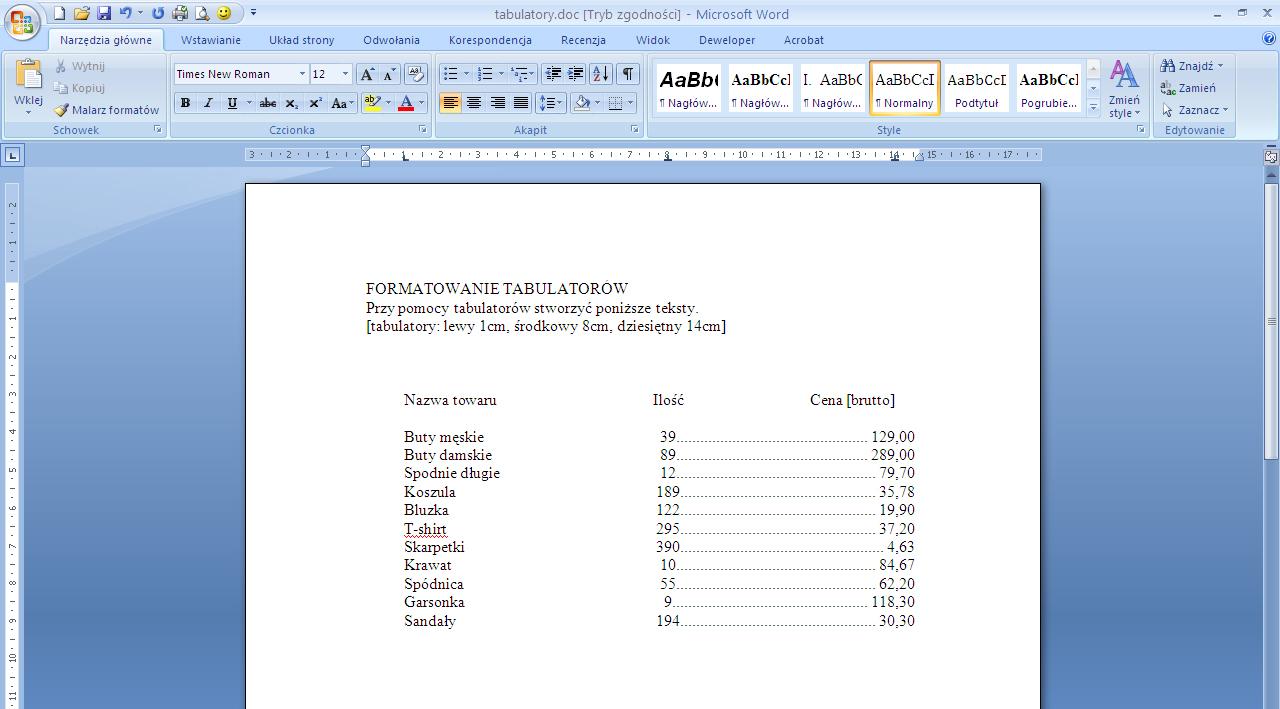 Tabulator 3 Porady Microsoft Word Szkolenie Word